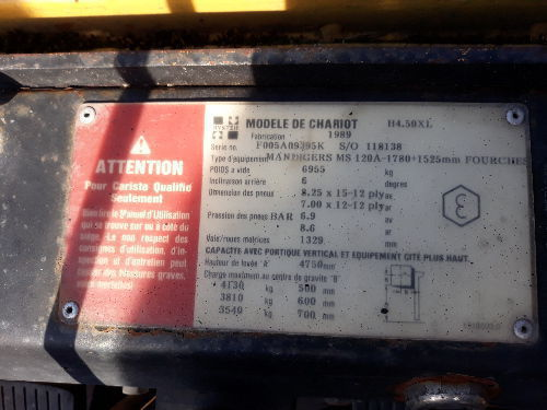 Chariot frontal diesel HYSTER H450XL 282