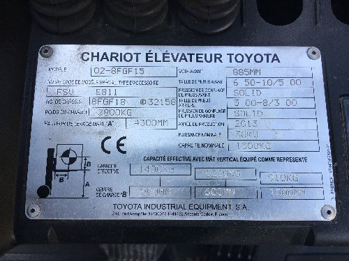 CHARIOT FRONTAL GAZ TOYOTA 02-8FGF15 - 2455